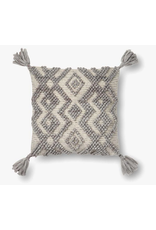 "18"" X 18"" Grey Diamond Pillow with Tassels"