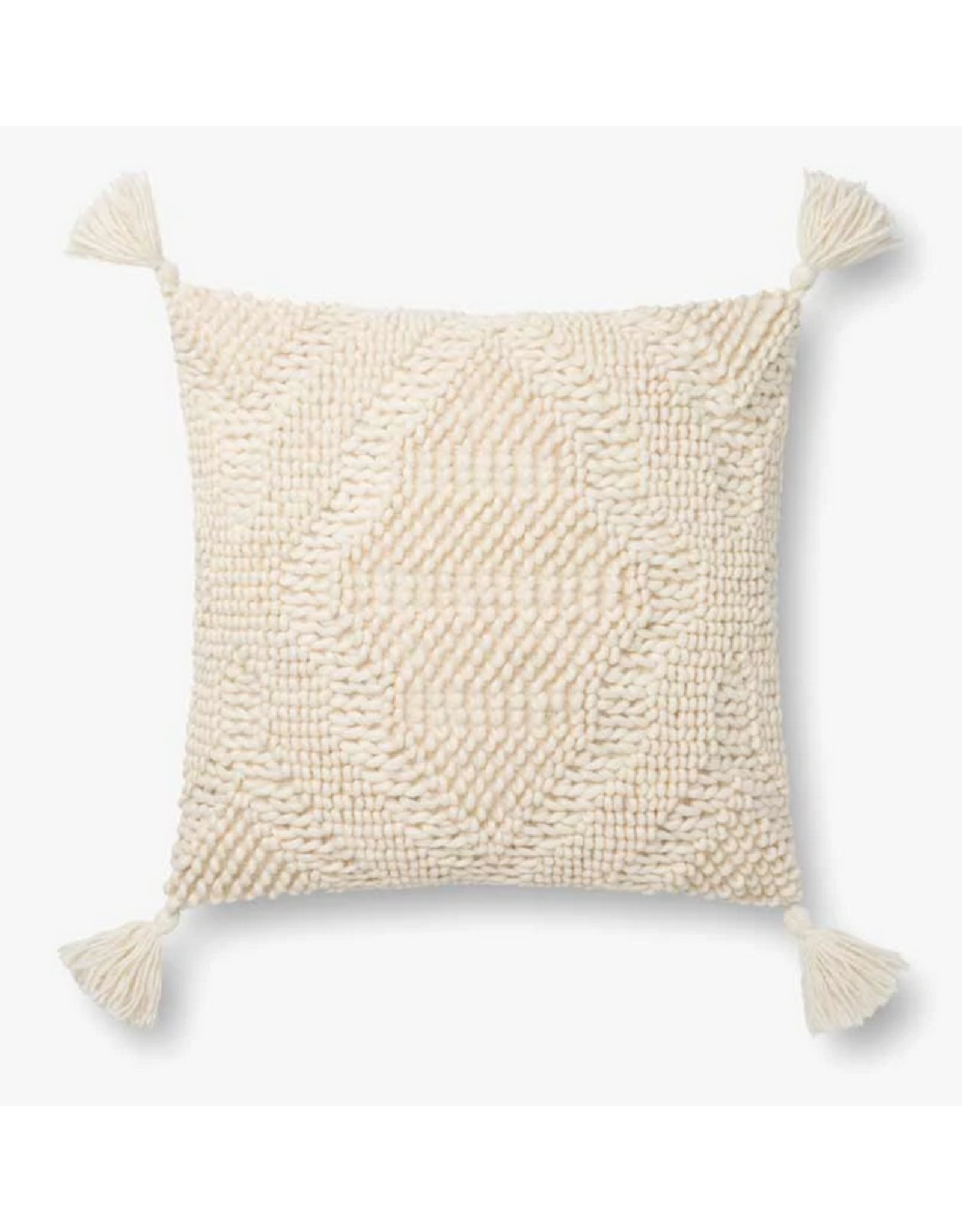 "18"" X 18"" Ivory Moroccan Diamond Pillow"