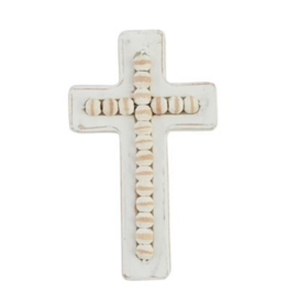 Oak + Arrow Interiors Beaded White Washed Wood Cross-Small
