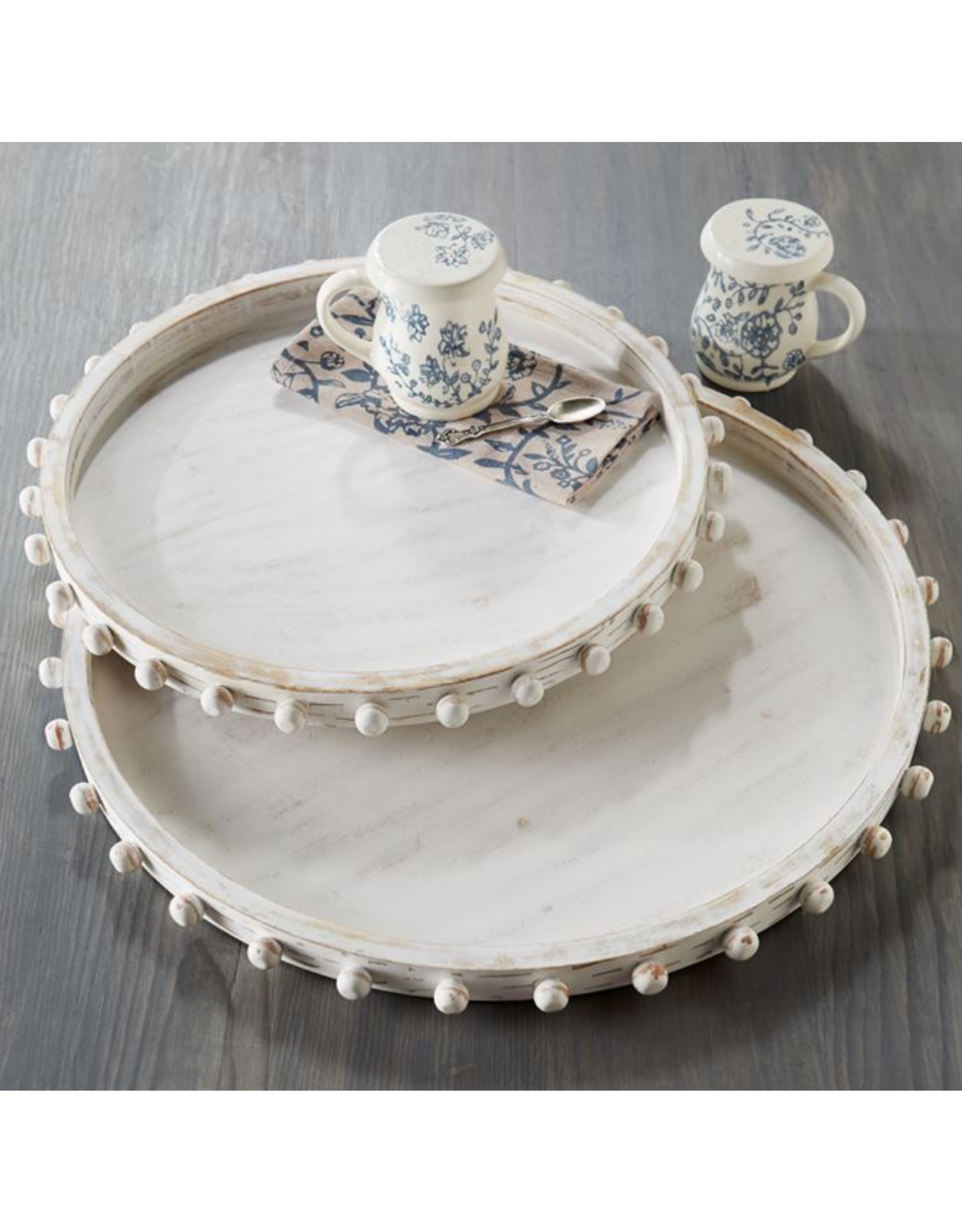 Large Beaded Wood Tray