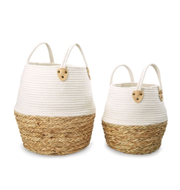 Large White Two Toned Basket