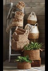Large White Two Toned Basket