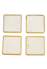 Brass Trim Marble Coaster Set