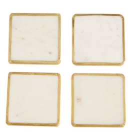 Brass Trim Marble Coaster Set