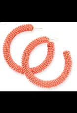 Solid Coral Seed Bead Hoop