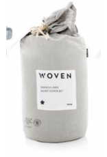 Woven French Linen Duvet Cover, Queen, Flax