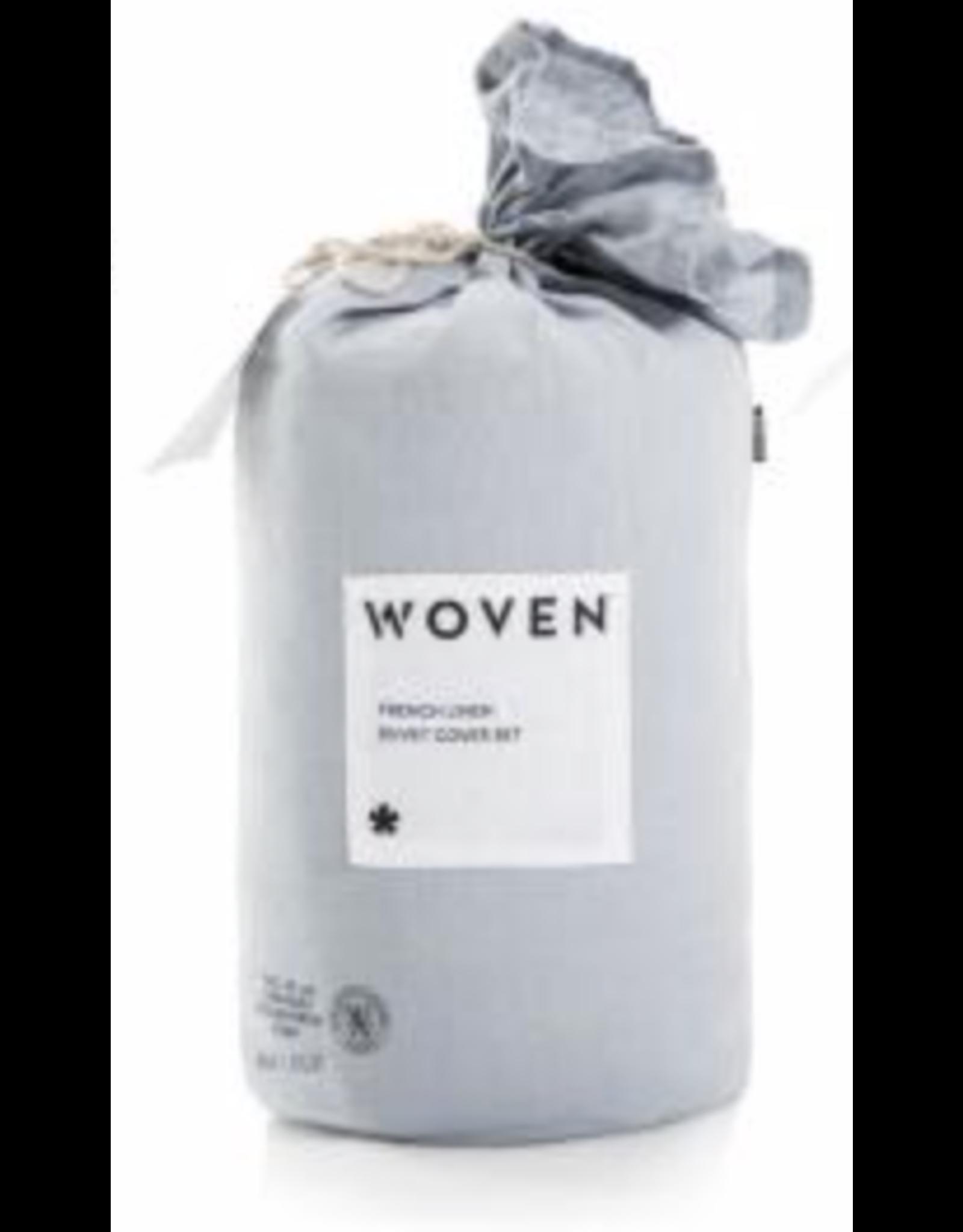 Woven French Linen Duvet Cover, Queen, Smoke