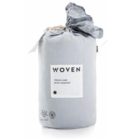 Woven French Linen Duvet Cover, Queen, Smoke