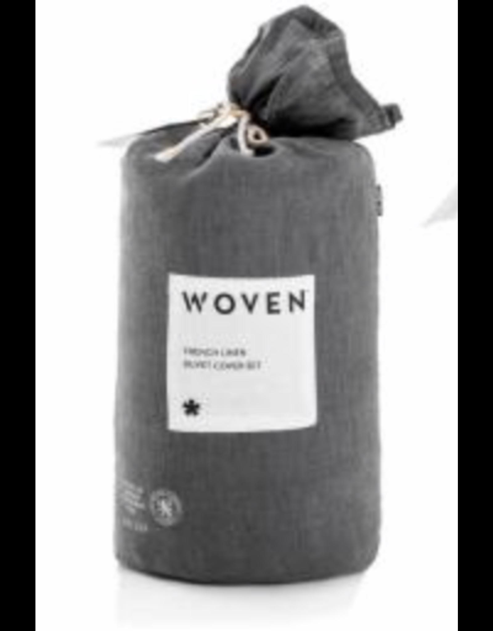 Woven French Linen Duvet Cover, Queen, Charcoal