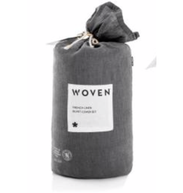 Woven French Linen Duvet Cover, Queen, Charcoal