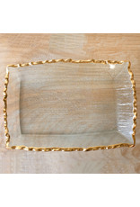 Fairbanks Rectangle Platter Clear/Gold