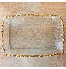 Fairbanks Rectangle Platter Clear/Gold