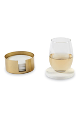 MARBLE COASTERS W BRASS HOLDER