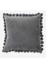 "20"" Square Velvet Pillow with Pom Poms, Grey"