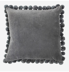 "20"" Square Velvet Pillow with Pom Poms, Grey"