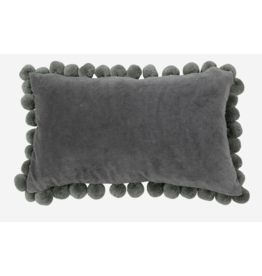 Lumbar Velvet Pillow with Pom Poms, Grey (13x21x6)