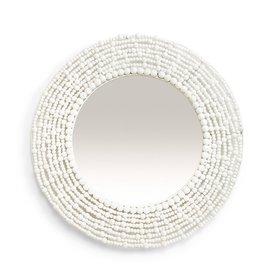 Oak + Arrow Interiors White Wooden Beaded Mirror