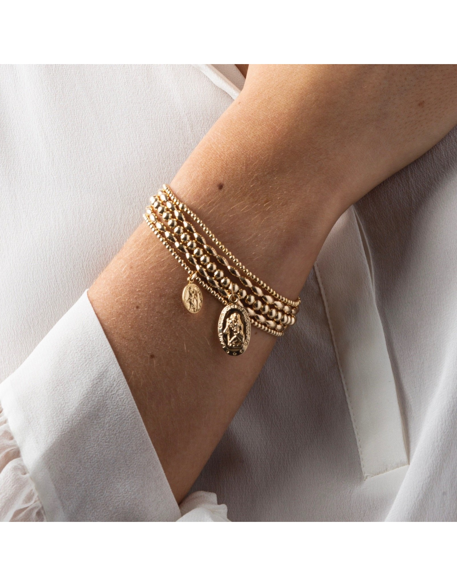 Oak + Arrow Interiors Classic Gold 2mm Bead Bracelet - Protection Small Gold Charm
