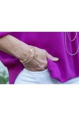 Oak + Arrow Interiors Signature Cross Matte Gold Pattern 4mm Bead Bracelet - Gold