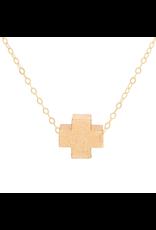 "Oak + Arrow Interiors 16"" Necklace Gold - Signature Cross Matte Gold"
