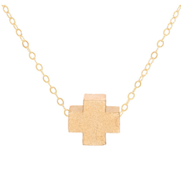 "Oak + Arrow Interiors 16"" Necklace Gold - Signature Cross Matte Gold"