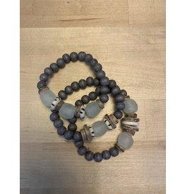 Trio Stack Bracelet Set - Grey/Blue