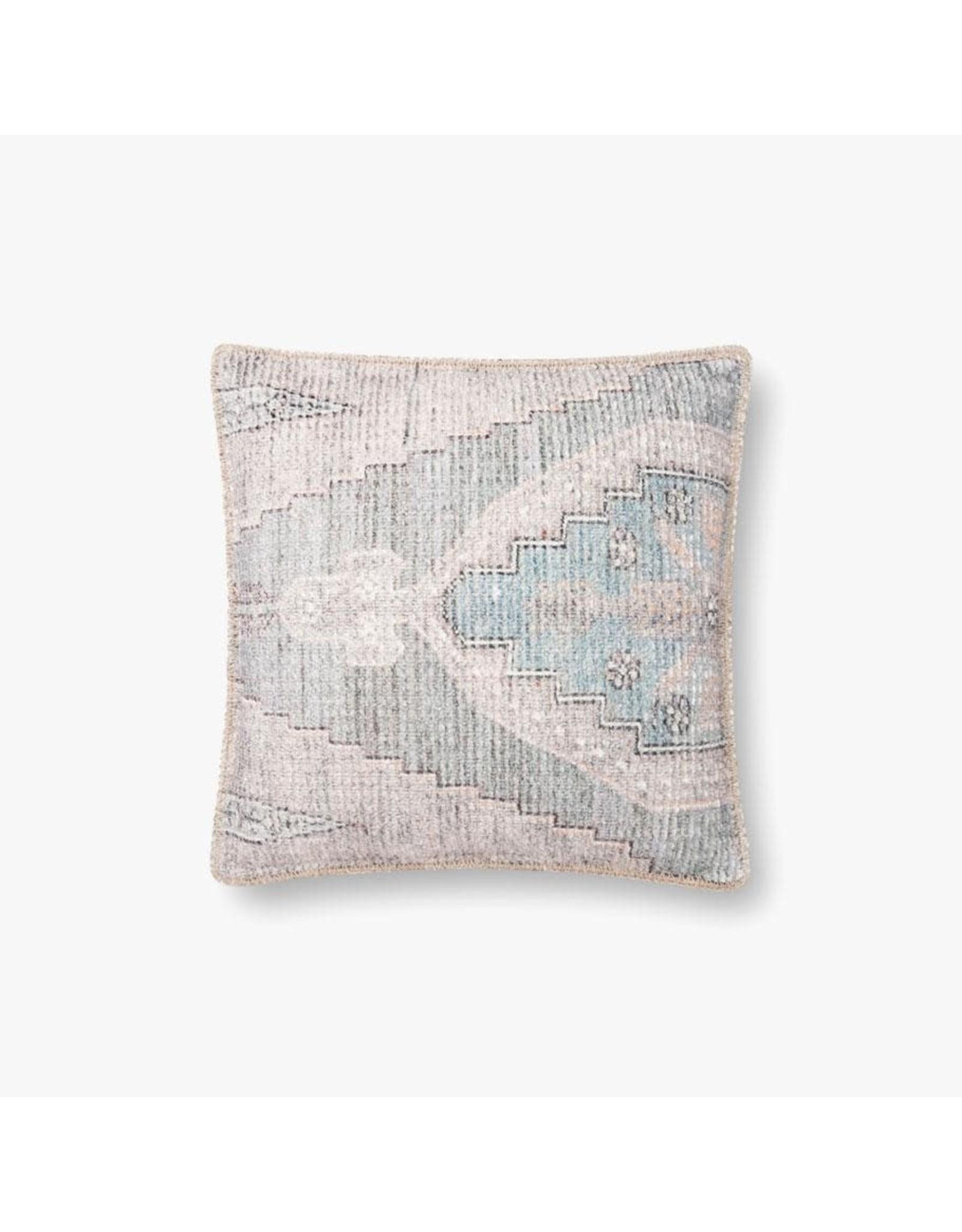 "Oak + Arrow Interiors Blue Vintage Print Pillow 18x18"""