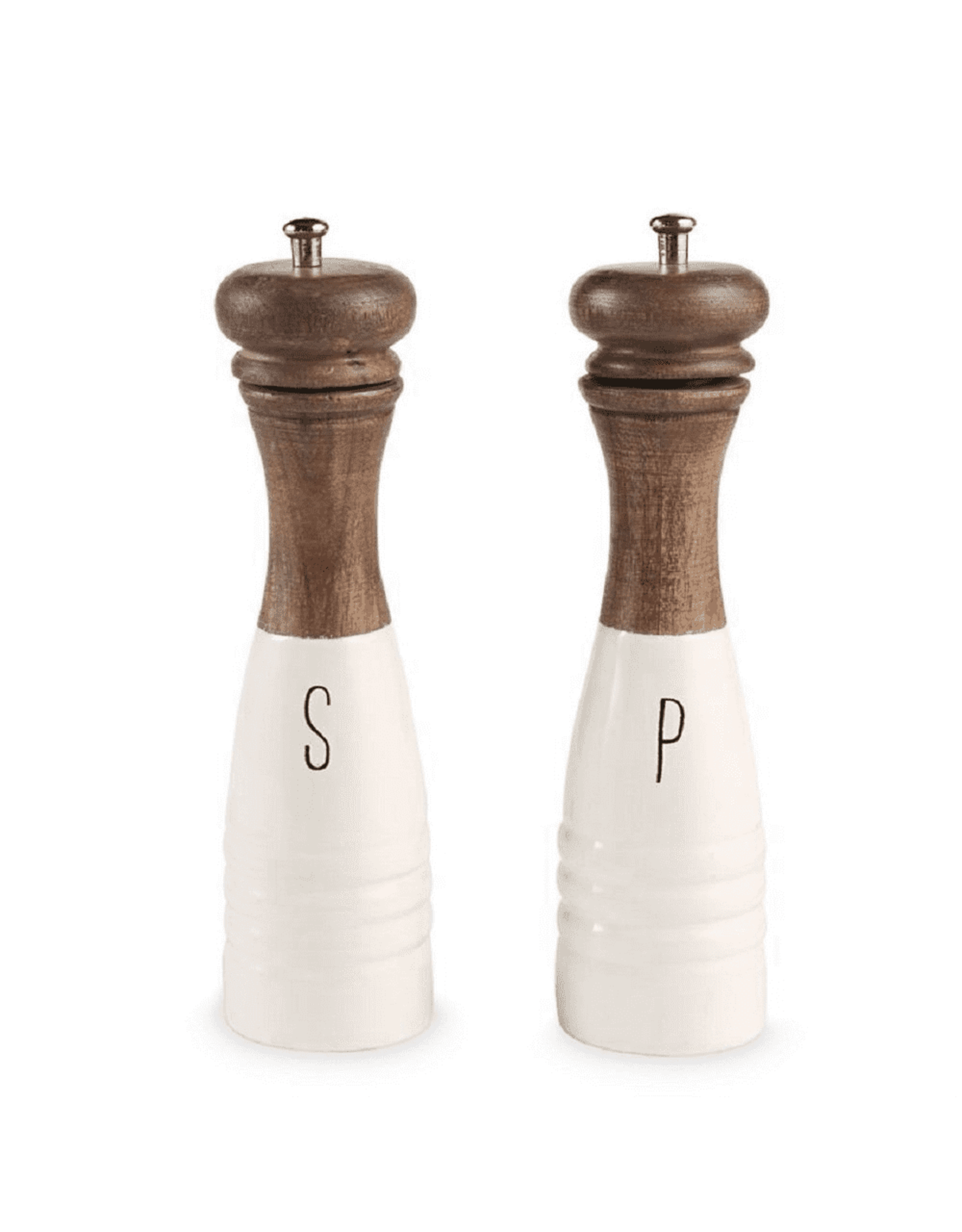 Oak + Arrow Interiors Wood/Enamel Salt & Pepper Mills (Set)