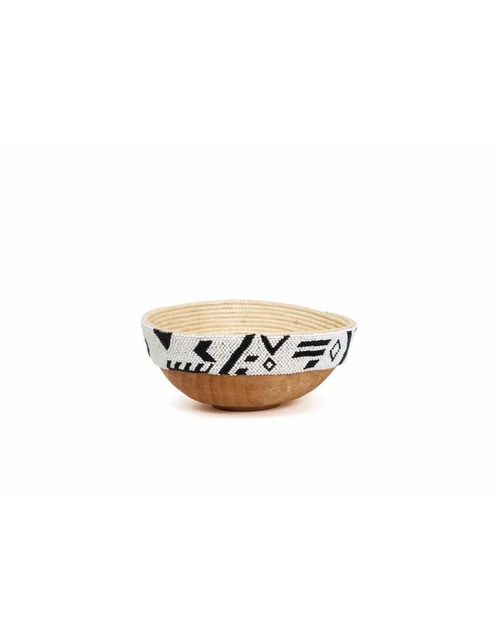 Kazi Black + White Pattern Wooden Bowl Large
