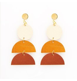 Black Circle And Camel Half-Circle Leather Earrings