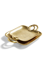 Small Metropolitan Decorative Gold Tray with Handles