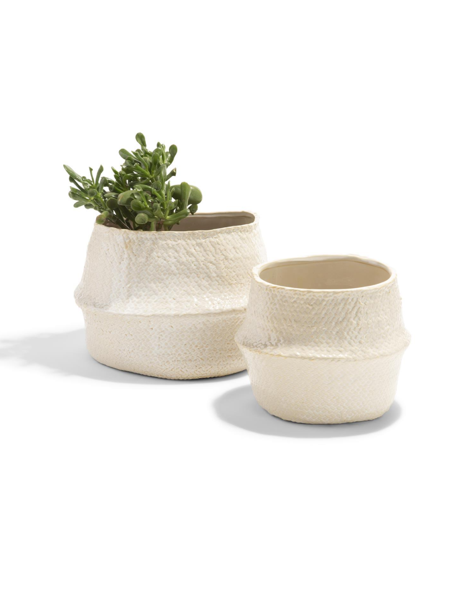 Small White Pot  with Weave Texture