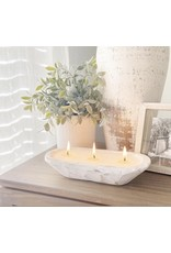 Oak + Arrow Interiors 3 Wick Dough Bowl Candle - WHITE