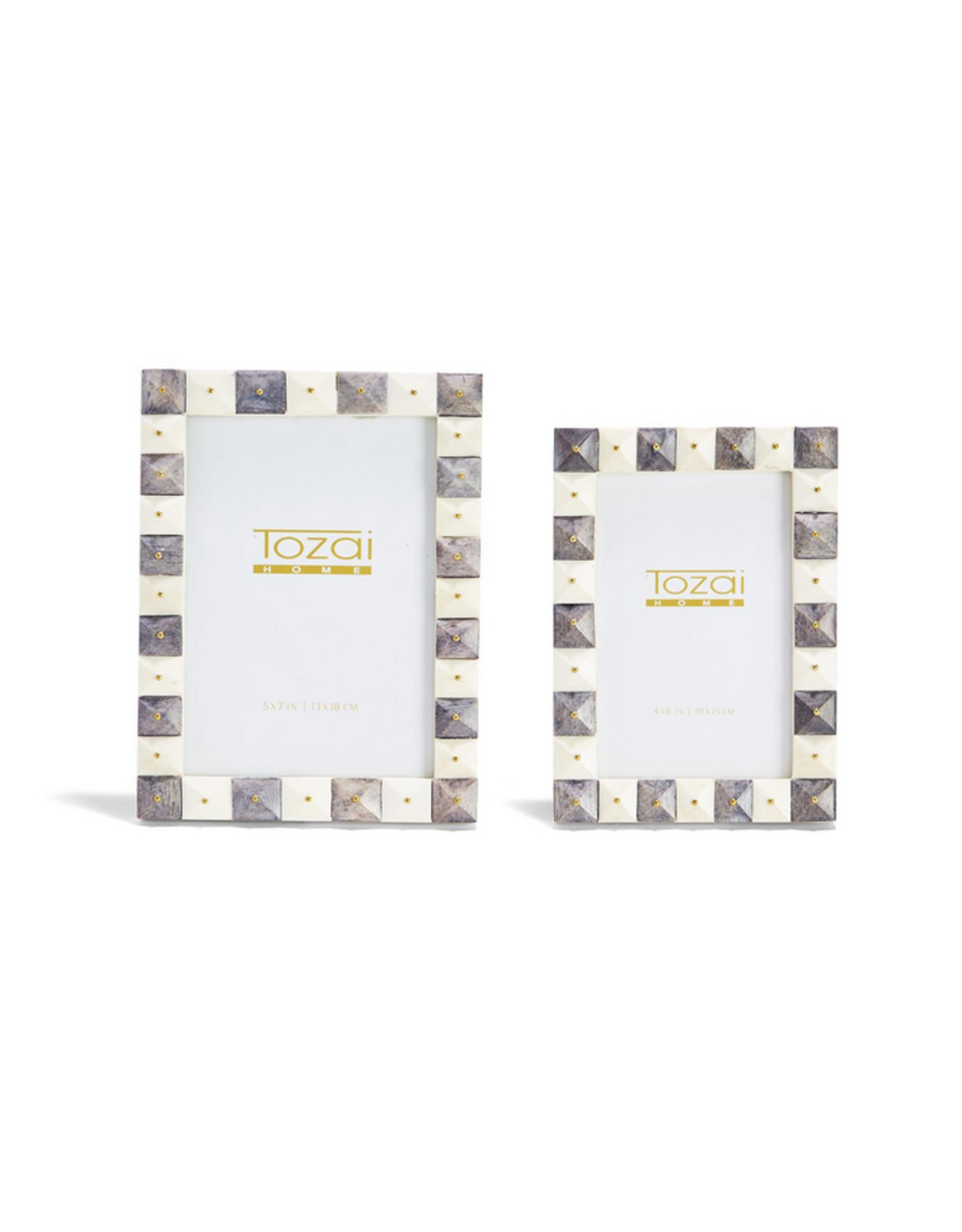 Pyramid Gray and White Frames with Gold Studs 4x6
