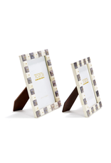 Pyramid Gray and White Frames with Gold Studs 5x7