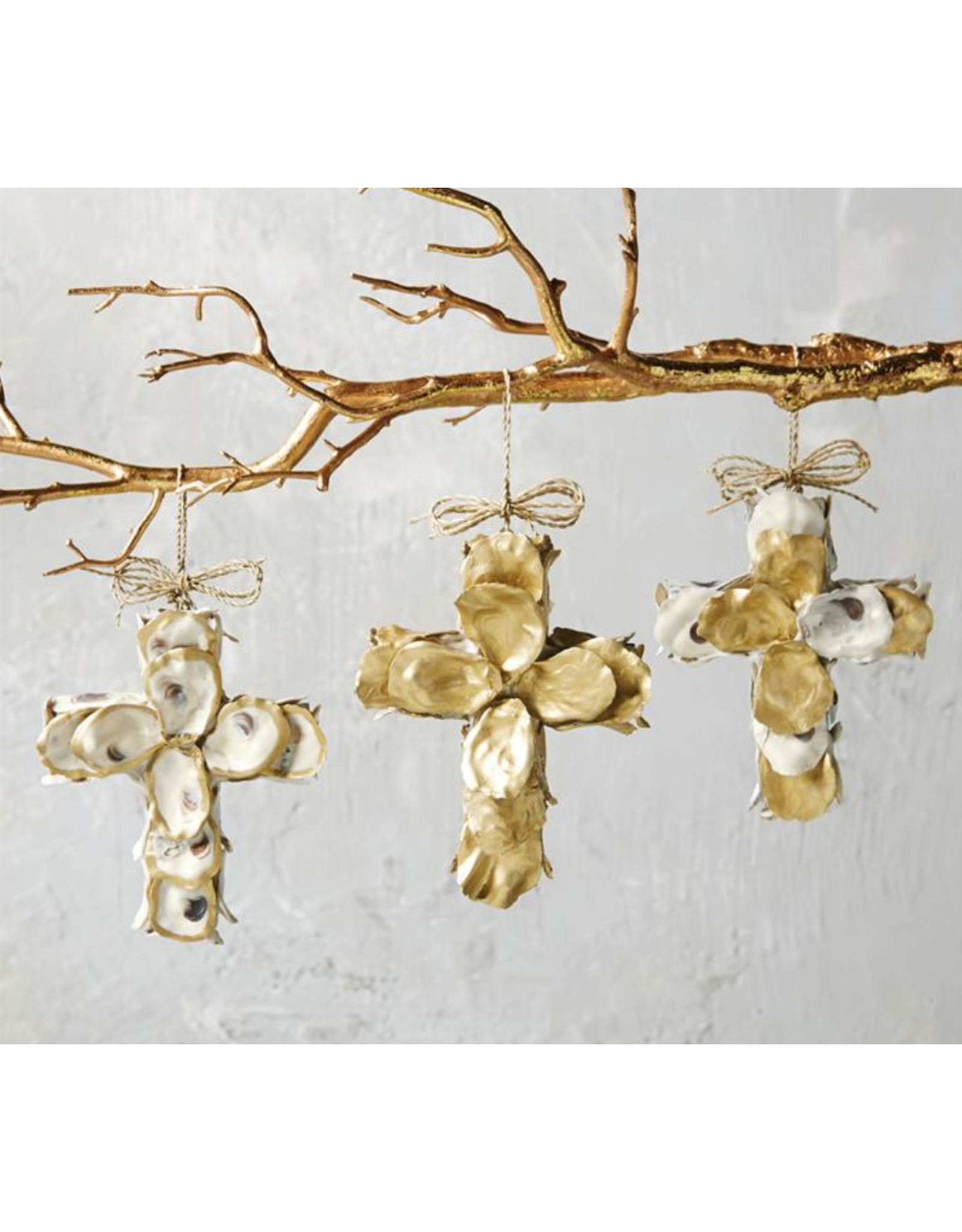 Gold Oyster Cross Ornaments