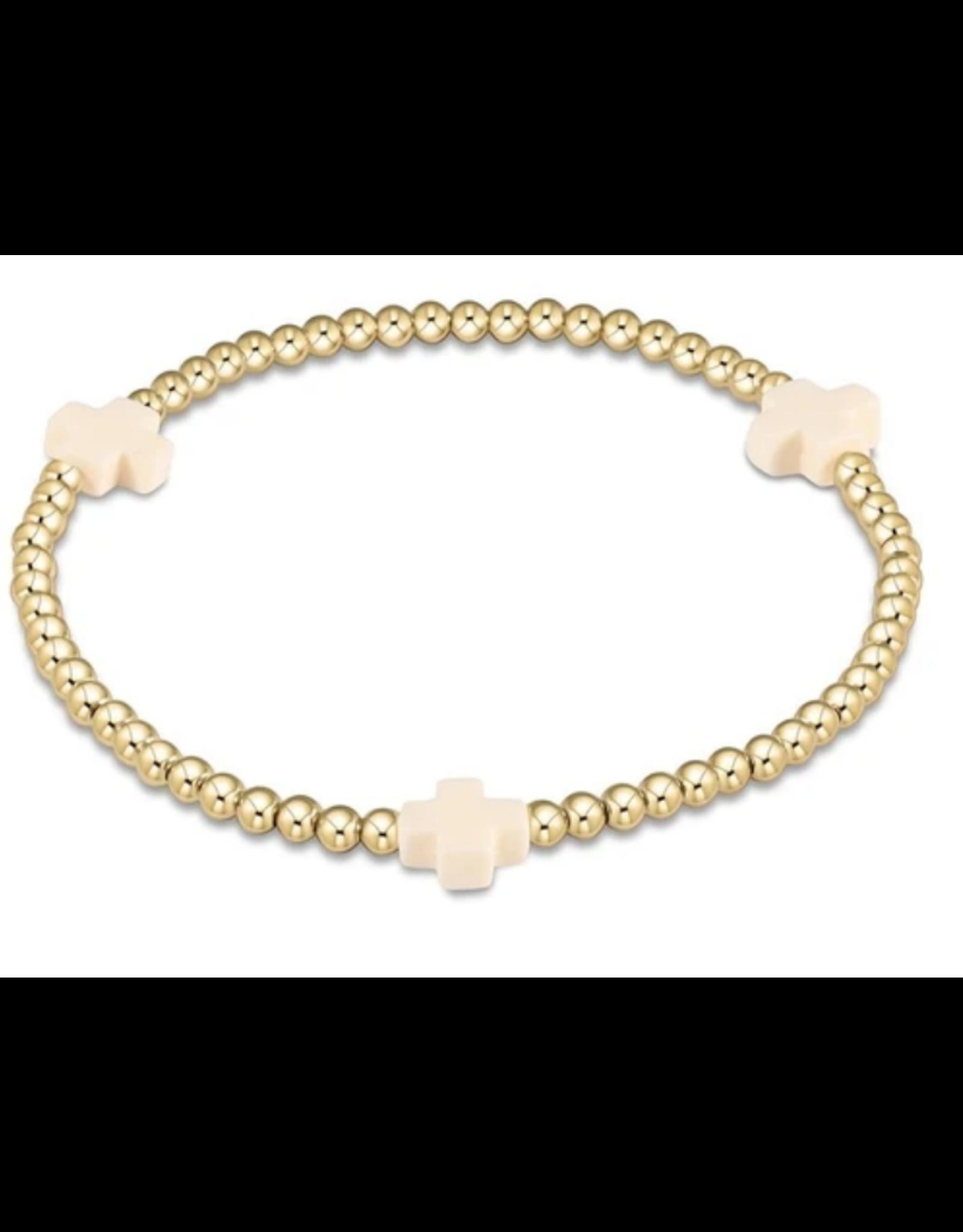 Off White- signature cross gold pattern 3mm bead bracelet