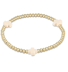 Off White- signature cross gold pattern 3mm bead bracelet