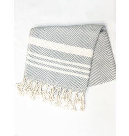 Oak + Arrow Interiors Turkish Hand Towel - Blue Zig Zag