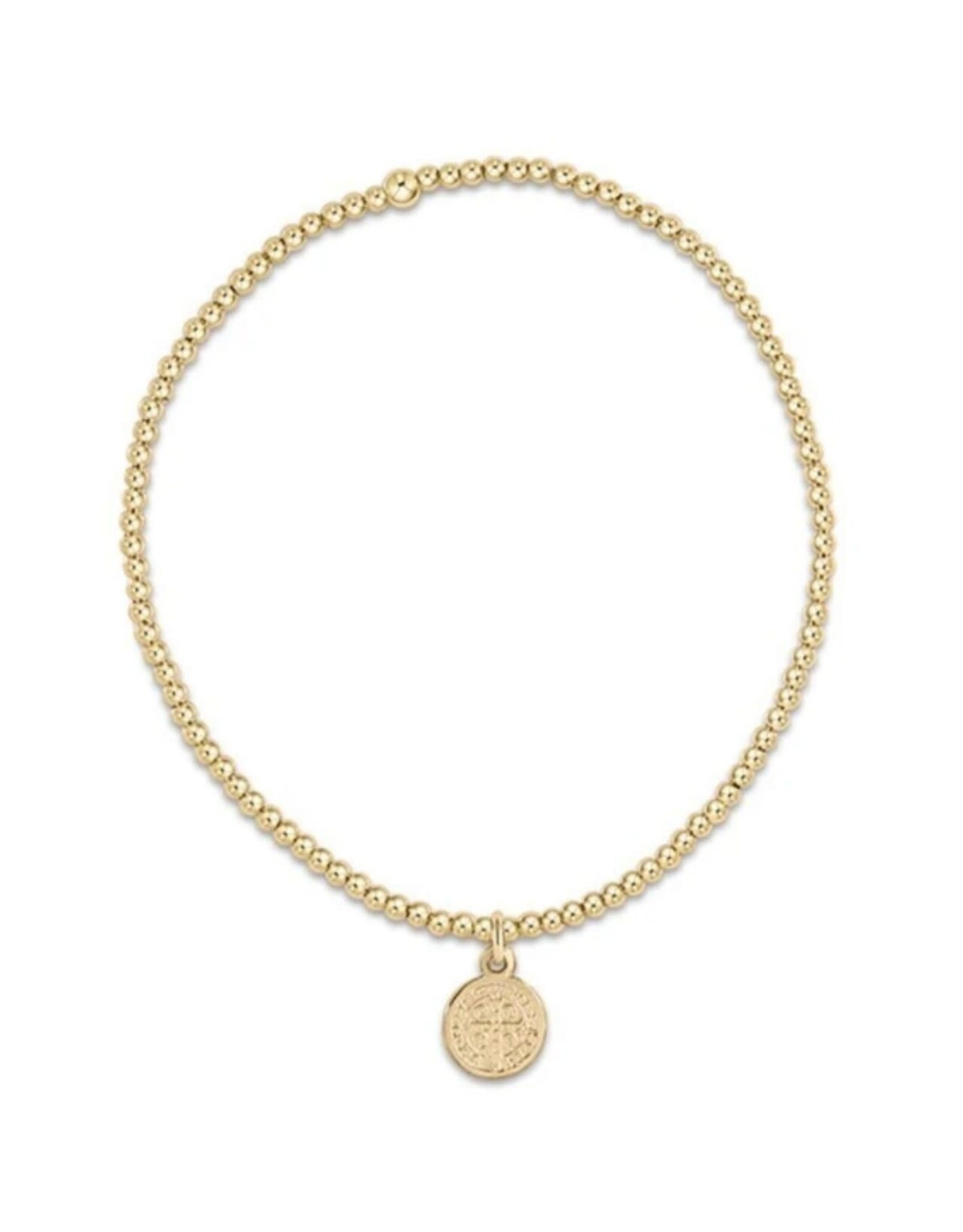 Classic Gold 2mm Bead Bracelet - Blessing Small Gold Charm