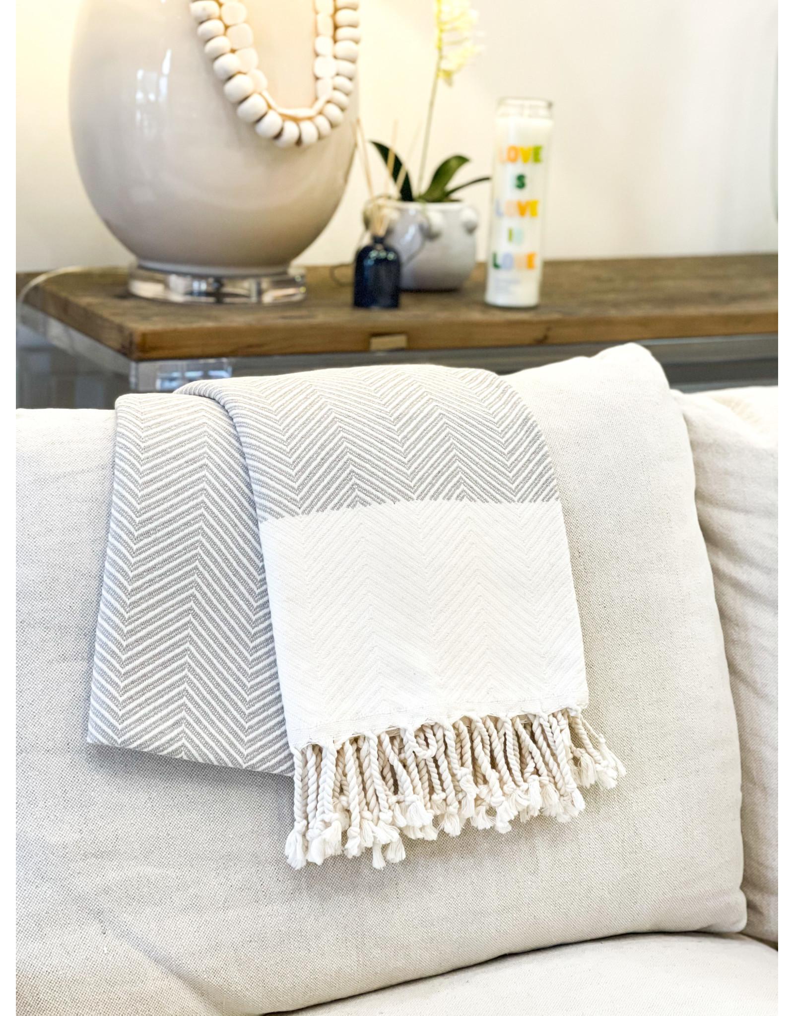 Oak + Arrow Interiors Turkish Throw Blanket - Grey & White
