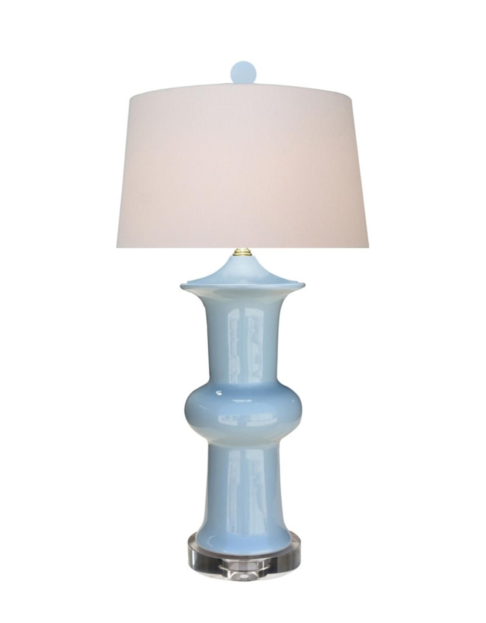 Oak + Arrow Interiors Porcelain Blue Lotus Vase Lamp  - Crystal Base