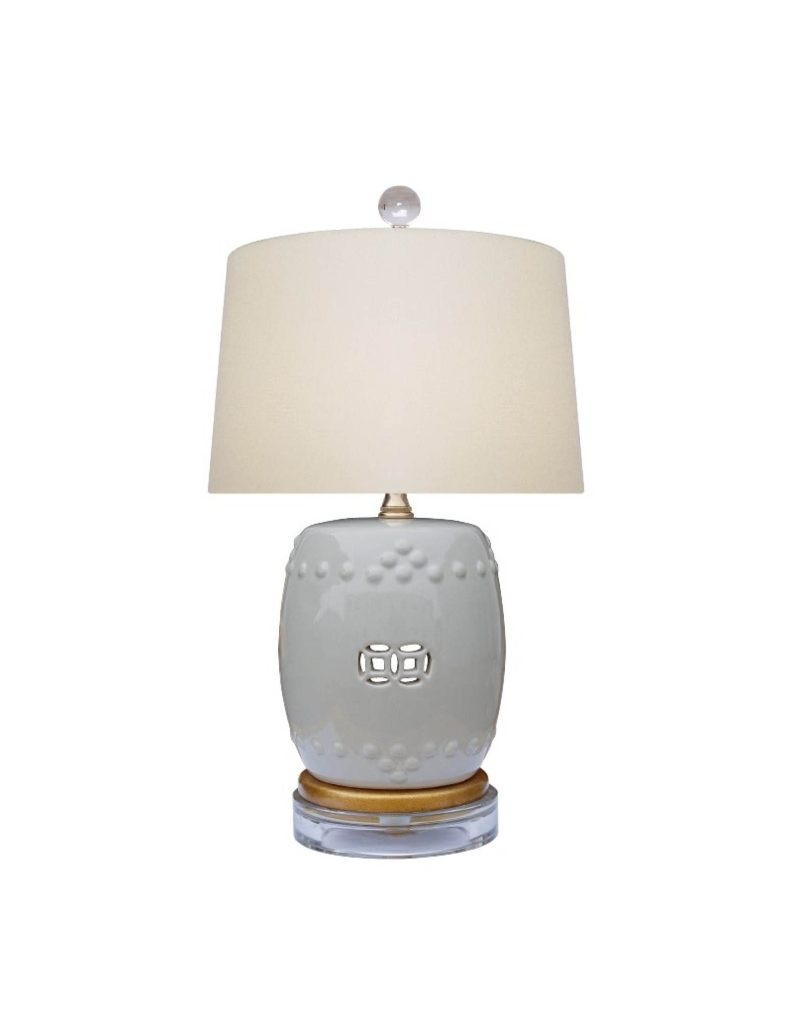 Oak + Arrow Interiors Gray Drum Lamp
