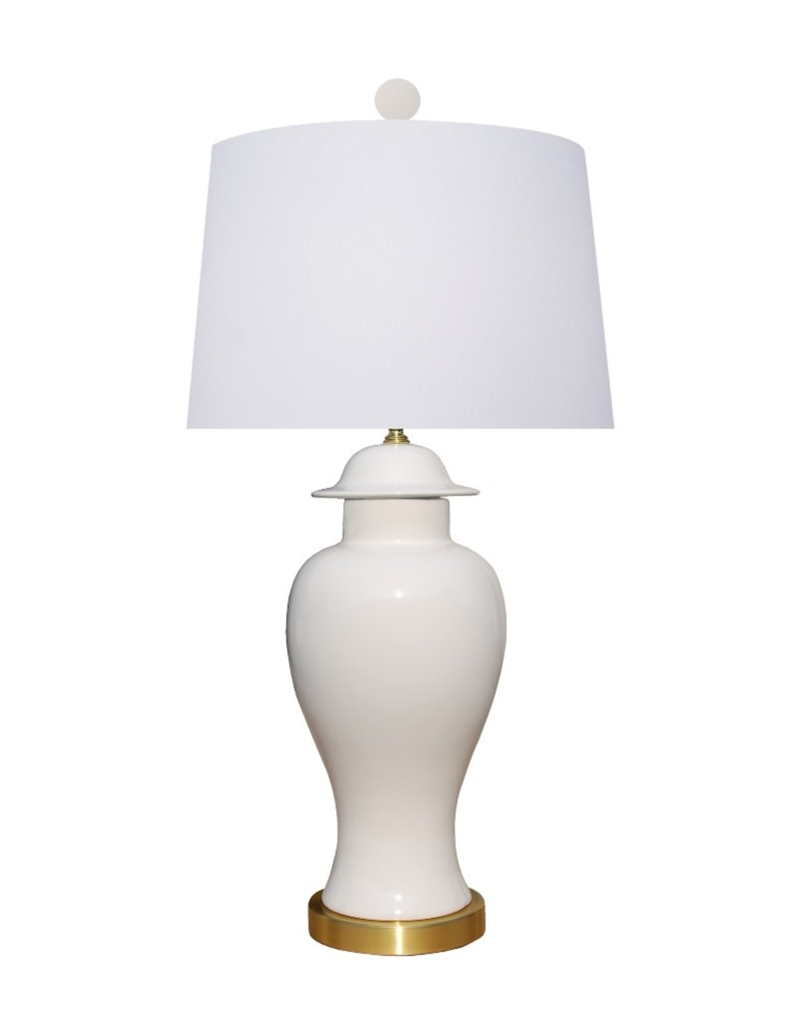 Oak + Arrow Interiors Porcelain Snow White Temple Jar Lamp