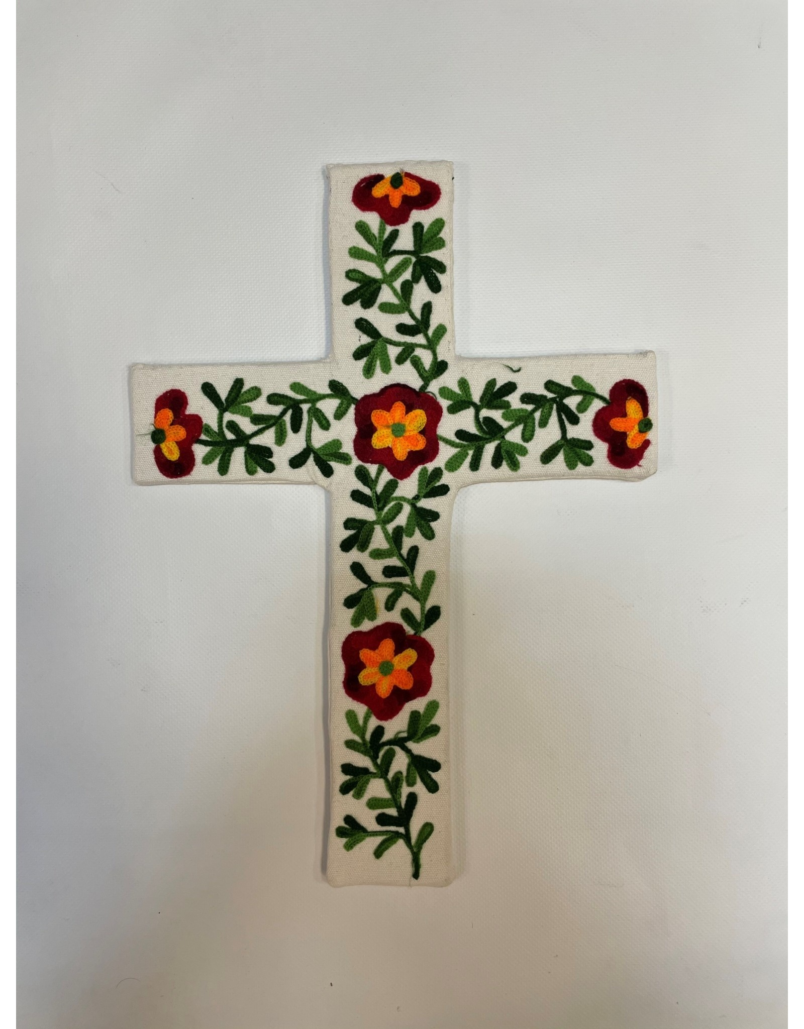 Hand Embroidered XL Floral Cross