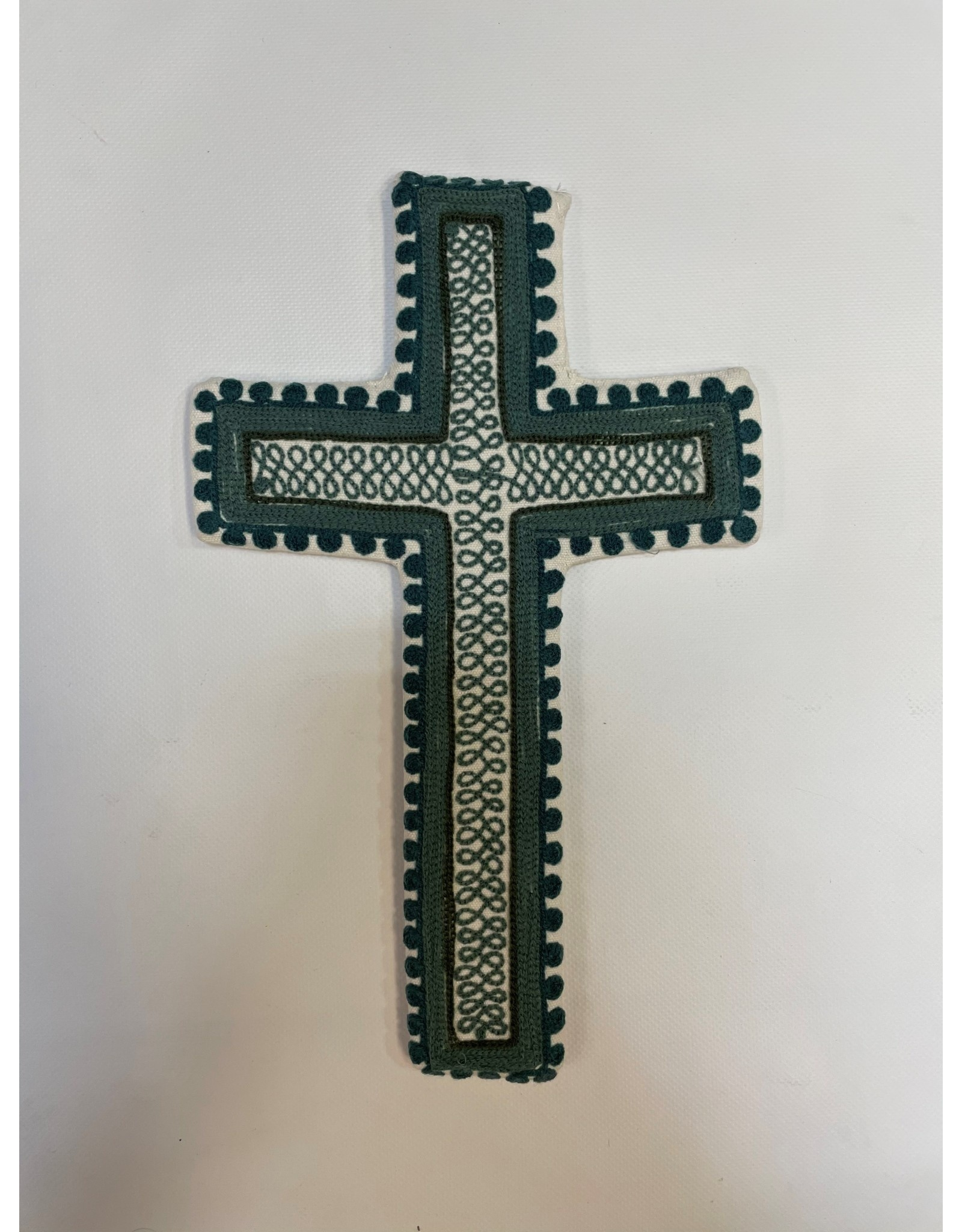 Hand Embroidered Blue Cross