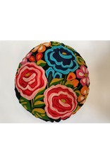 Hand Embroidered  Round Multi Color Floral Pillow