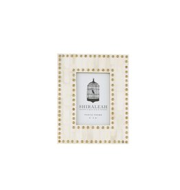 """Oak + Arrow Interiors 4""""X6"""" STUDDED PICTURE FRAME, IVORY"""