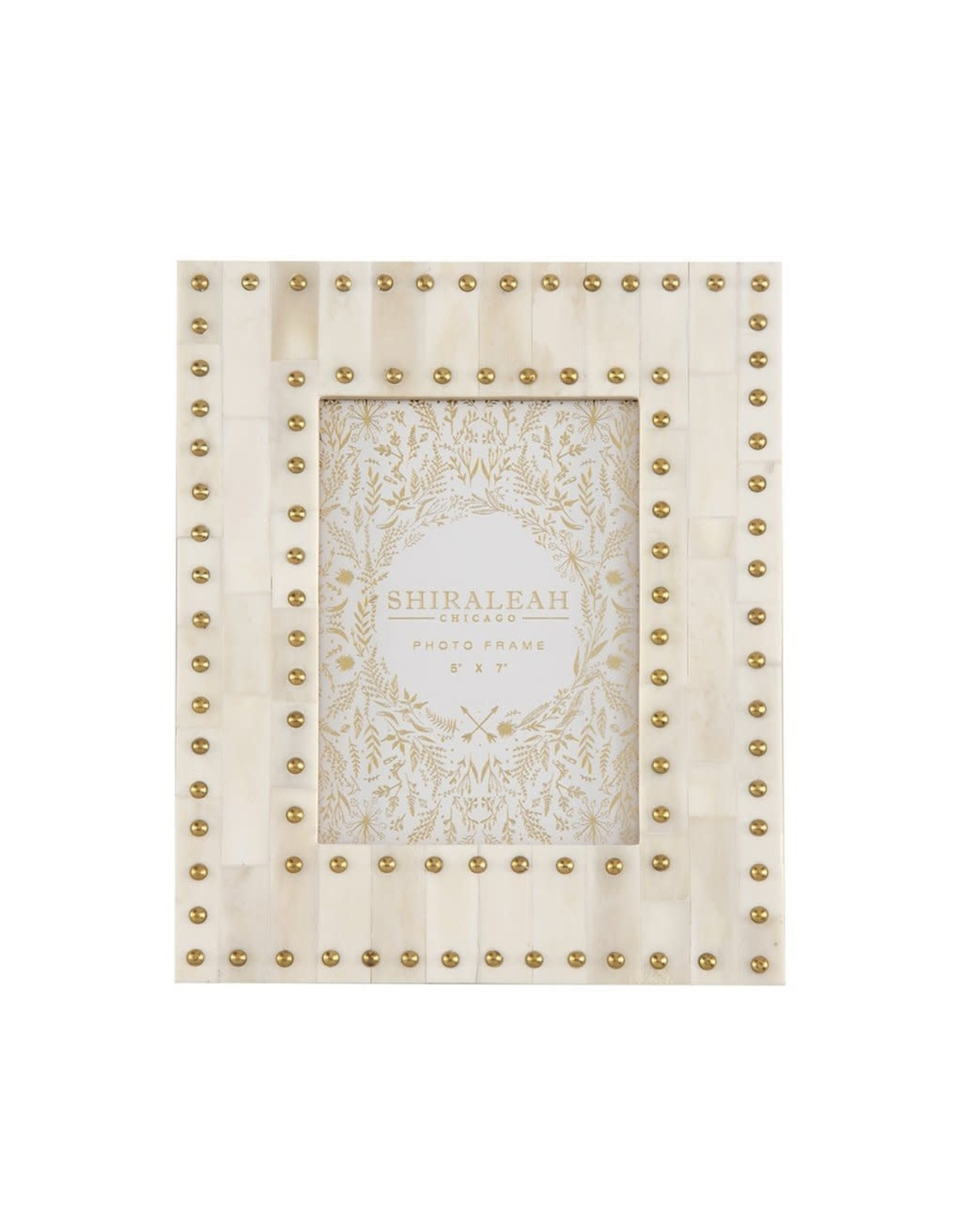 """MANSOUR STUDDED 5"""" X 7"""" GALLERY FRAME, IVORY"""