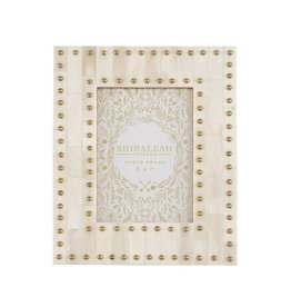 "MANSOUR STUDDED 5"" X 7"" GALLERY FRAME, IVORY"